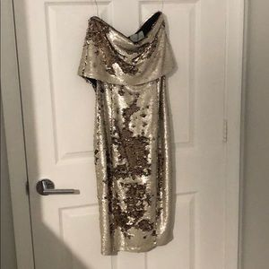 Strapless sequin dress.